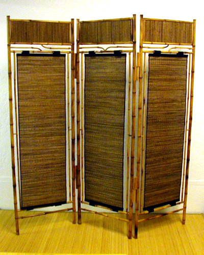 Platform Beds  Francisco on Shoji Screen   Bamboo With Coconut Roots  Three Panels  Natural Finish