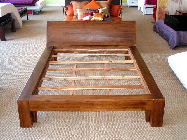 Rustic Teak Platform Bed And Headboard
