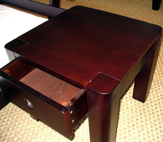 walnut finish bed side table for low sunrise platform bed. Black Bedroom Furniture Sets. Home Design Ideas