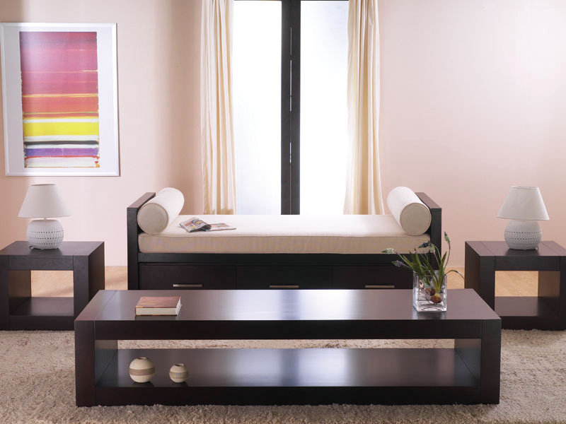 Sydney day bed in cappuccino finish with end tables and for Bedroom furniture sydney