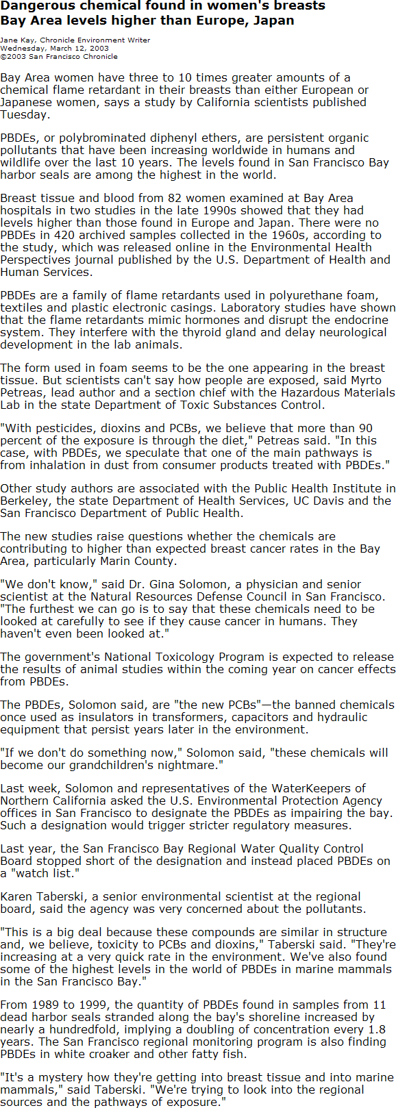 San Francisco Chronicle health article