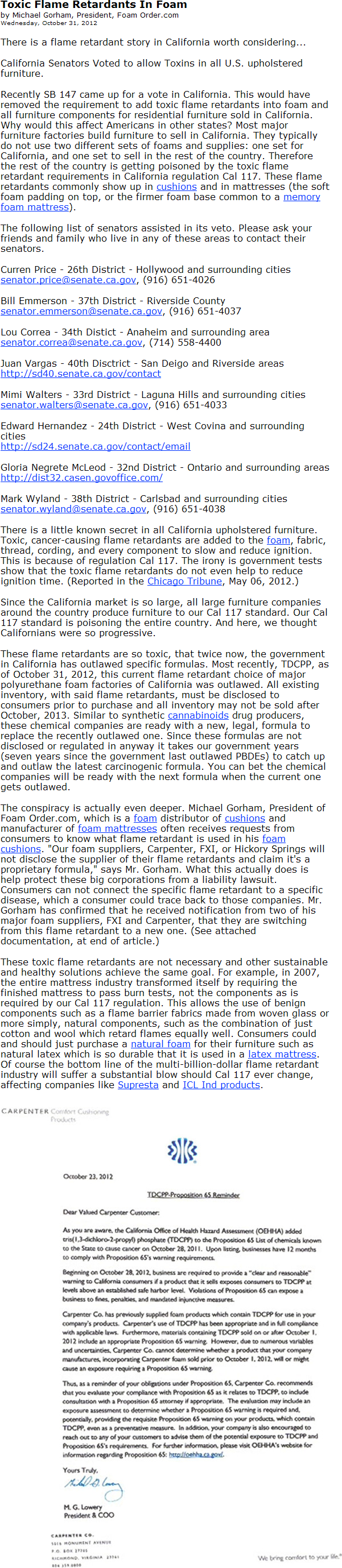 Letter from Foamorder president Michael Gorham