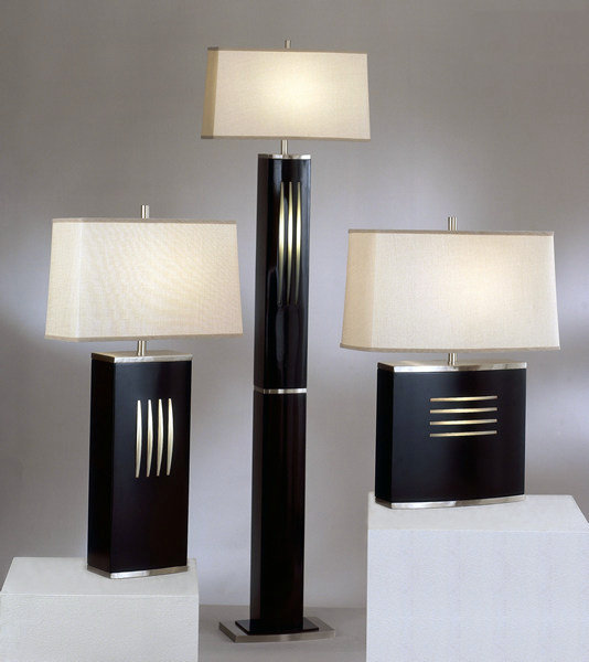 dash standing and reclining table lamps and dash floor lamp in dark wood finish. Black Bedroom Furniture Sets. Home Design Ideas