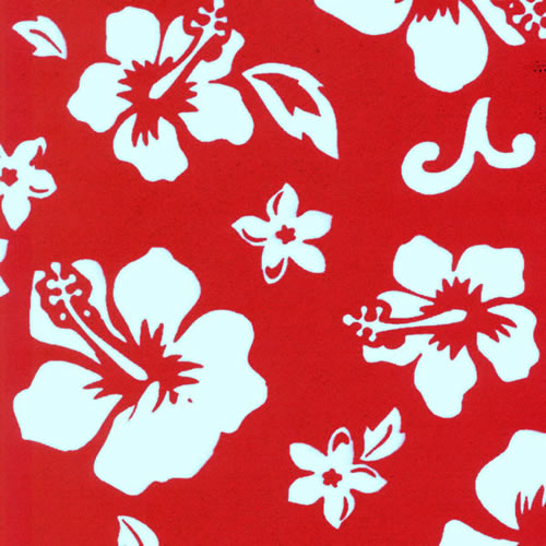 Neoprene Sheet Red Hawaii Hibiscus Pattern
