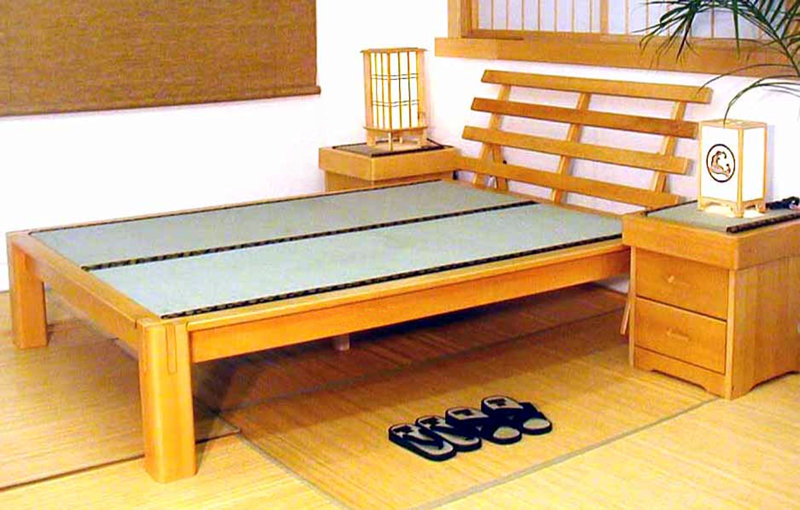 Sunset Platform Bed With Headboard Tatami Mats Night Stands And Lamps