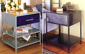Teen Nightstand in Primary Colors (left) and Steel Plate design (right)