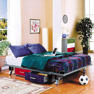 . Teen Full Size Bed with attached storage drawers