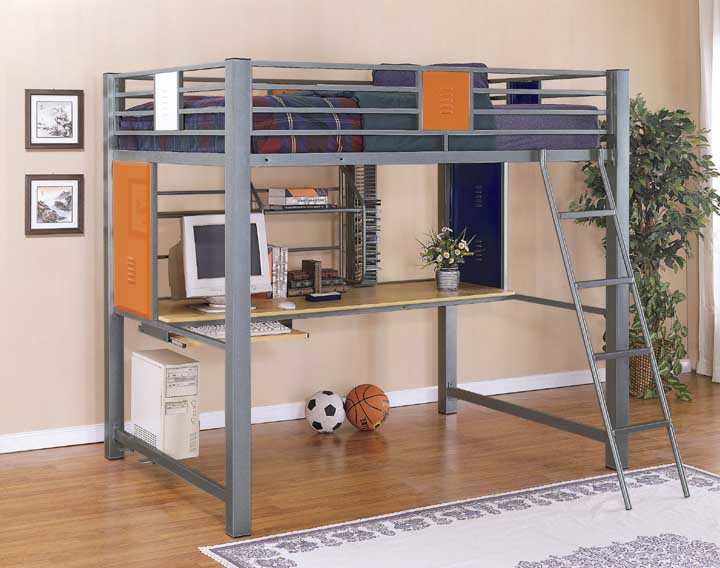 Full Size Loft Bunk Bed With Built In Study Desk In