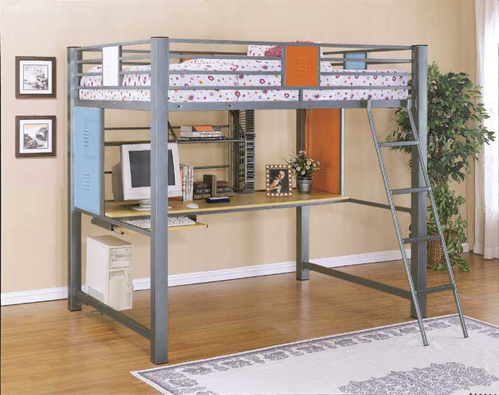 Full size loft bunk bed with built in study desk in for Camas con cajones debajo